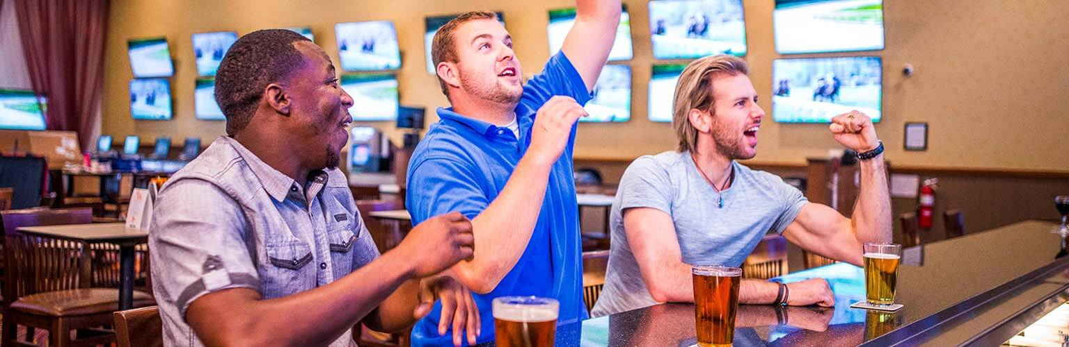 Three guys drinking beers and cheering, watch sports in Orange City